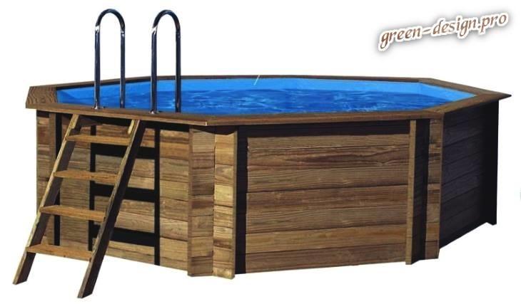 летний каркасный прямоугольный бассейн