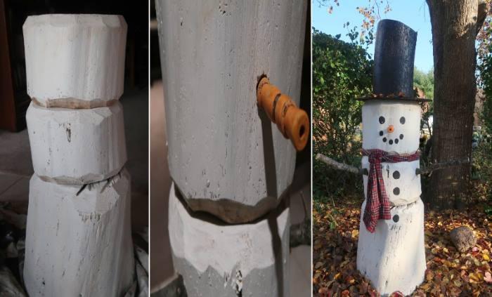 Фото снеговика из дерева