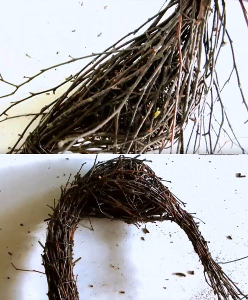 поделки из веток для сада: формирование фигурки птицы